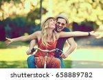 portrait of happy young couple... | Shutterstock . vector #658889782