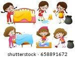 girls doing different chores... | Shutterstock .eps vector #658891672