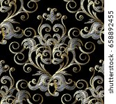 embroidery style floral damask... | Shutterstock .eps vector #658892455