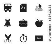 set of 9 editable school icons. ... | Shutterstock .eps vector #658913158