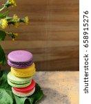 macaroon  colorful dessert on... | Shutterstock . vector #658915276