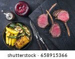 barbecue rack of venison with... | Shutterstock . vector #658915366