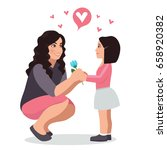 daughter gives a flower to mom. ... | Shutterstock .eps vector #658920382