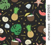 seamless summer pattern with... | Shutterstock .eps vector #658920505
