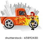 Girl and Orange Pickup truck with bright yellow fire