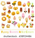 big vector set of funny food... | Shutterstock .eps vector #658924486