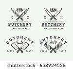 set of vintage butchery meat ... | Shutterstock .eps vector #658924528