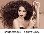 curly hair. hairstyling.... | Shutterstock . vector #658950322