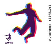 silhouette of a jumping man.... | Shutterstock .eps vector #658951066
