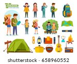 big set of camping and hiking.... | Shutterstock .eps vector #658960552