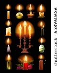 Set Of Burning Candles  Classi...
