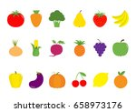 fruit berry vegetable icon set... | Shutterstock .eps vector #658973176