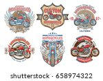 set vector color vintage badges ... | Shutterstock .eps vector #658974322