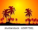 Vector Summer Scene In Orange...