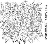 zygocactus flowers and bird... | Shutterstock .eps vector #658977412