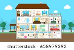 house interior set. | Shutterstock . vector #658979392