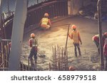concrete pouring during... | Shutterstock . vector #658979518