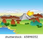 cartoon african landscape  ... | Shutterstock .eps vector #65898352