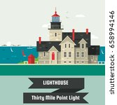 lighthouse.thirty mile point... | Shutterstock .eps vector #658994146
