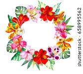 colorful flowers wreath... | Shutterstock . vector #658995562