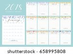 floral bright 2018 calendar.... | Shutterstock .eps vector #658995808