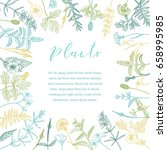 vector hand drawn floral frame... | Shutterstock .eps vector #658995985