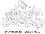 jesus reading the bible to... | Shutterstock .eps vector #658997572