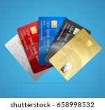 realistic credit plastic card... | Shutterstock .eps vector #658998532
