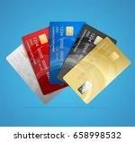 realistic credit plastic card...   Shutterstock .eps vector #658998532