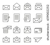 mail icons  thin monochrome... | Shutterstock .eps vector #659002252