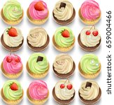cupcakes set on a white...   Shutterstock .eps vector #659004466