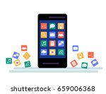 black smartphone with cloud of... | Shutterstock .eps vector #659006368
