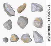 set of stones  sea pebbles...   Shutterstock . vector #659007106