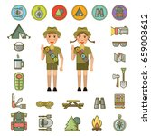 scout boy and girl and... | Shutterstock .eps vector #659008612