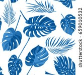 seamless hand drawn tropical... | Shutterstock .eps vector #659010532