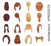 quads  blond braids and other... | Shutterstock .eps vector #659020225