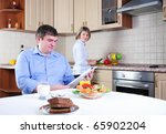 the couple has breakfast... | Shutterstock . vector #65902204