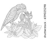 coloring book page of jay bird... | Shutterstock .eps vector #659025298