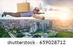 delivery man flying over city... | Shutterstock . vector #659028712