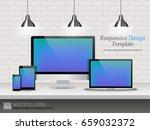 realistic computer  laptop ... | Shutterstock .eps vector #659032372