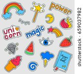 set of fashion patch badges... | Shutterstock .eps vector #659037982