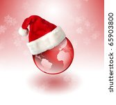 Earth in the Santa hat. Symbol of the new year on our planet. Happy New Year and Merry Christmas! - stock photo