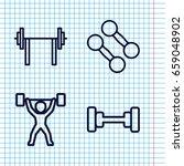set of 4 barbell outline icons... | Shutterstock .eps vector #659048902