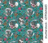 cute cats. flowers. seamless...   Shutterstock .eps vector #659064685