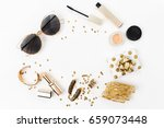 frame with gift  sequins ... | Shutterstock . vector #659073448