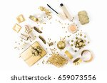 frame with gift  sequins ... | Shutterstock . vector #659073556