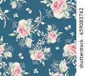 seamless rose pattern and... | Shutterstock . vector #659083762