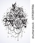 Hand Drawn Beautiful Roses In...