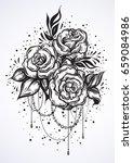 Hand Drawn Beautiful Roses In...