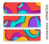 horizontal banners with 3d... | Shutterstock .eps vector #659087332